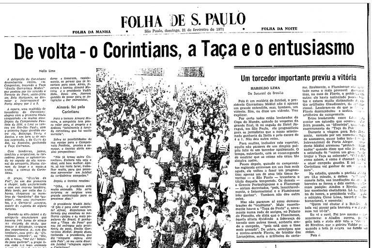 Reprodução 1 da Folha de S.Paulo de 21 de fevereiro de 1971, que abordava a conquista do Torneio do Povo pelo Corinthians