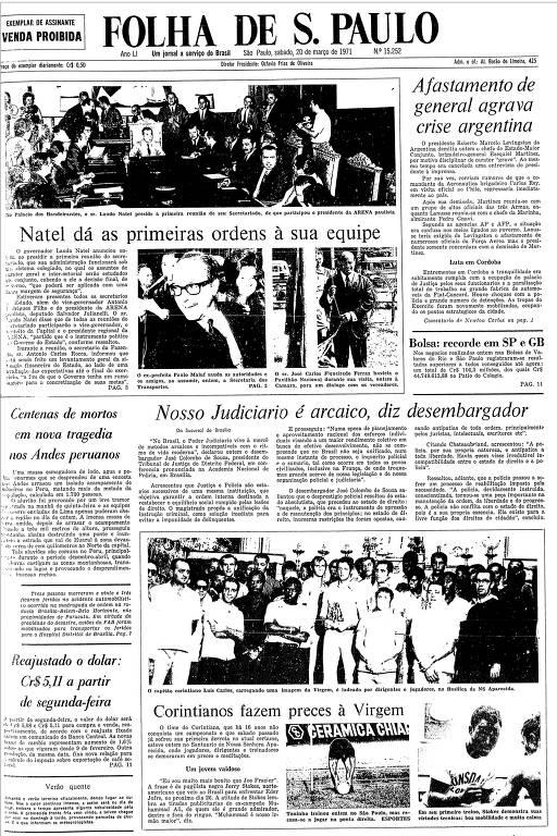 Primeira Página da Folha de 20 de março de 1971