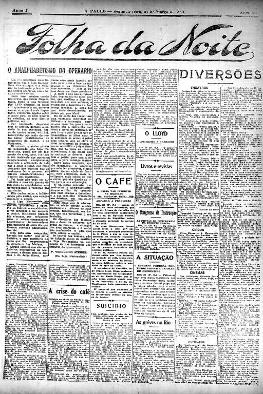 Primeira Página da Folha da Noite de 21 de março de 1921