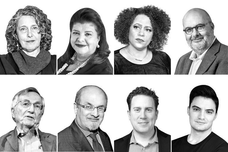 Montagem com Sally Lehrman, Luiza Trajano, Nikole Hannah-Jones, Branko Milanovic, Seymour Hersh, Salman Rushdie,  Ben Smith e Felipe Neto, entrevistados da série Fuga para a Frente