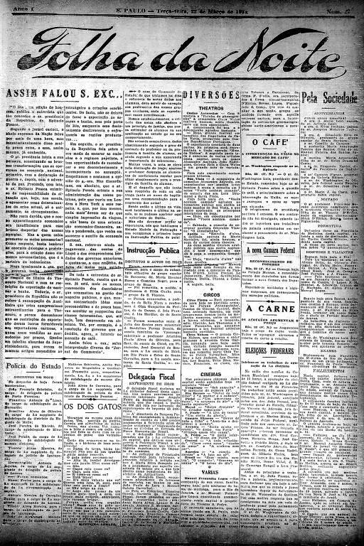 Primeira Página da Folha da Noite de 22 de março de 1921