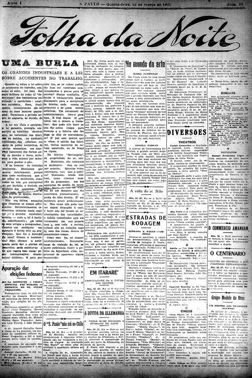 Primeira Página da Folha da Noite de 23 de março de 1921