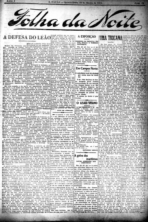Primeira Página da Folha da Noite de 24 de março de 1921