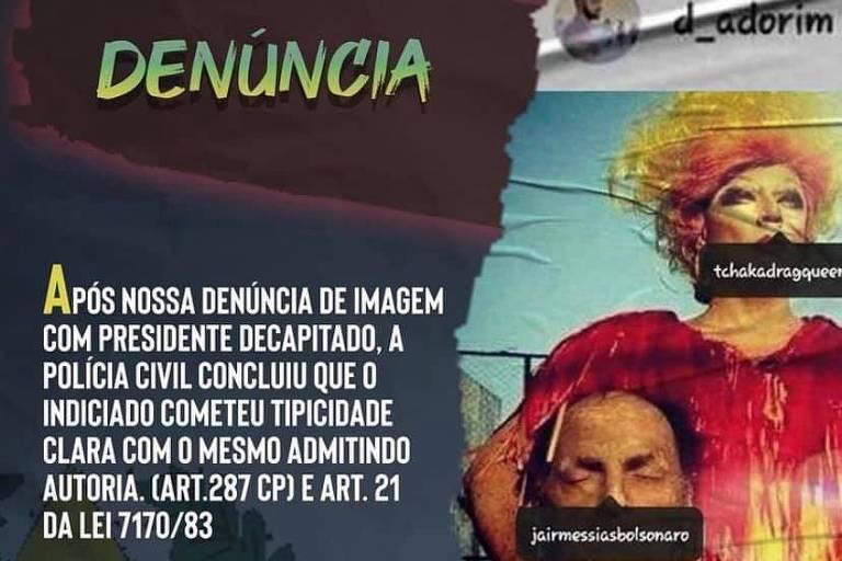 Justiça analisa imagem em que drag queen segura escultura da cabeça decapitada de Bolsonaro