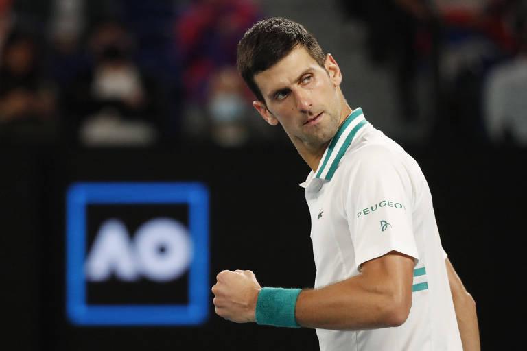 Novak Djokovic vibra durante final na Austrália