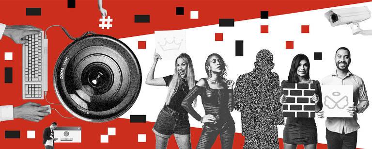 colagem com integrantes do BBB 21 ( Sara, Karol, Lucas (com textura de tv fora do ar, eliminado), Pocah e Gil. Fundo vermelho e elementos da internet e TV em preto e branco