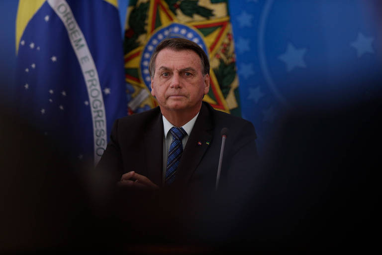 O presidente Jair Bolsonaro, durante coletiva de imprensa no Palácio do Planalto, em 5 de fevereiro de 2021, para falar sobre alterações na política do preço de combustíveis