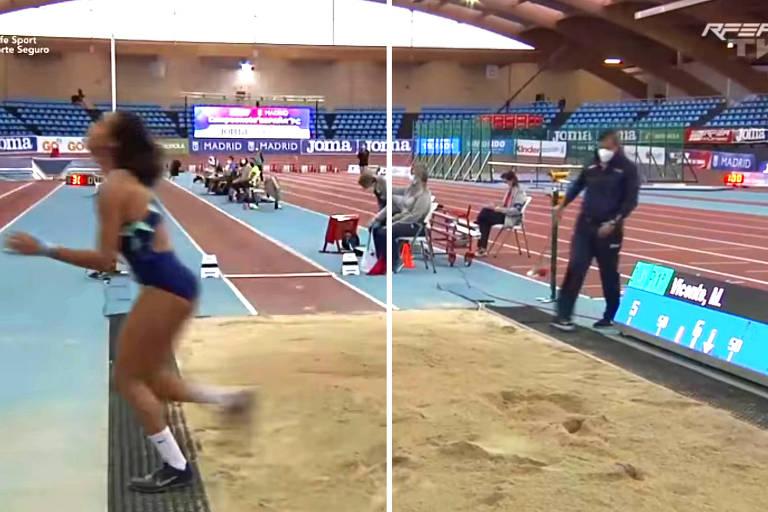 Montagem com frames da transmissão mostra, à esquerda, a atleta María Vicente saindo da caixa de areia e, à direita e logo após, o oficial da prova entrando na caixa de areia para apagar as marcas