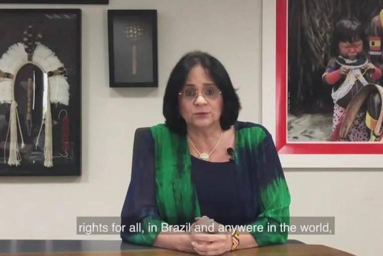 Damares Alves, ministra da Mulher, Família e Direitos Humanos, durante discurso para o Conselho de Direitos Humanos da ONU