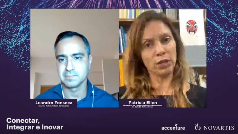 Leandro Fonseca, Head of Public Affairs da Novartis, e Patrícia Ellen, secretária de Desenvolvimento Econômico, Ciência e Tecnologia do Estado de São Paulo