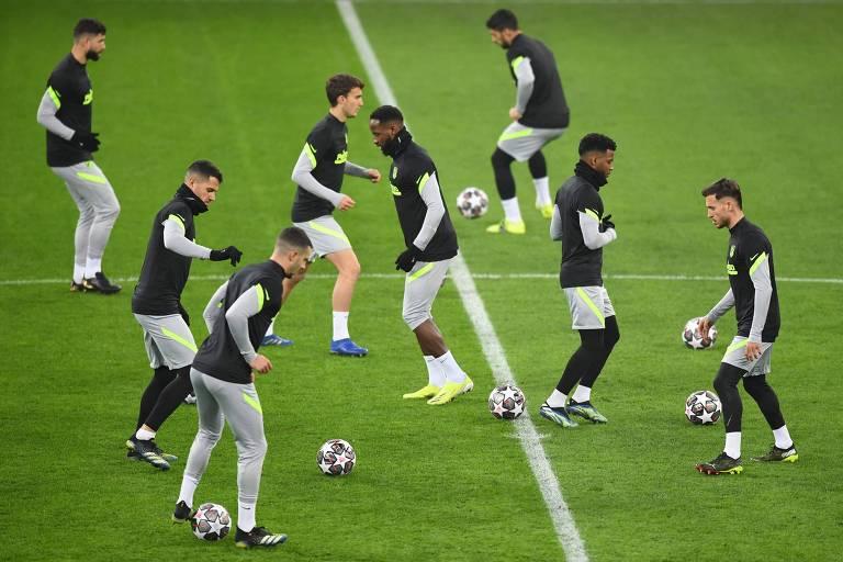 Treino do Atlético nesta segunda (22), véspera do duelo com o Chelsea, em Bucareste