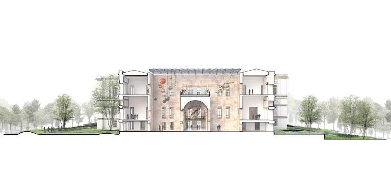 Corte do edifício destacando sua relação com os jardins laterais e uma nova cobertura transparente sobre os pátios do Bloco 4