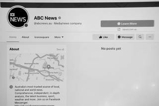 The ABC News Facebook page is seen on a screen in Canberra