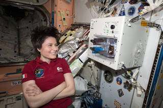A photo provided by NASA of Samantha Cristoforetti, an Italian astronaut, on the International Space Station in 2015. (NASA via The New York Times)