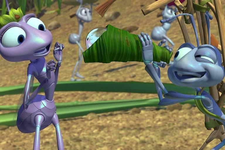"""Cena da animação """"Vida de Inseto"""", em que duas formigas interagem"""