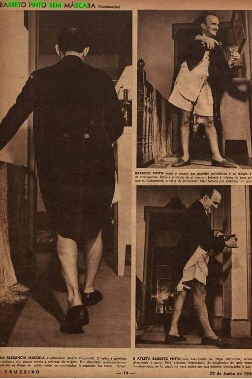 """O deputado Edmundo Barreto Pinto posa para foto em 1946; ele perdeu o mandato após sua foto de cueca e casaca aparecer na revista """"O Cruzeiro"""", é a primeira cassação de um deputado no país. (Foto: Jean Manzon)"""