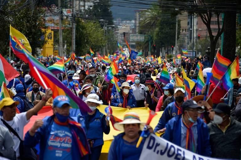 Marcha de indígenas em apoio a Yaku Pérez chega à capital do Equador