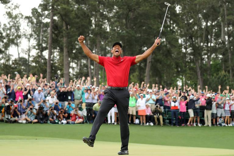 Tiger Woods celebra sua vitória no Masters de 2019