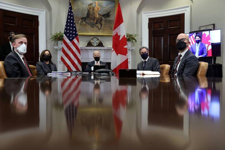 Com Trudeau, Biden faz 1ª reunião bilateral para reforçar cooperação com aliado-chave