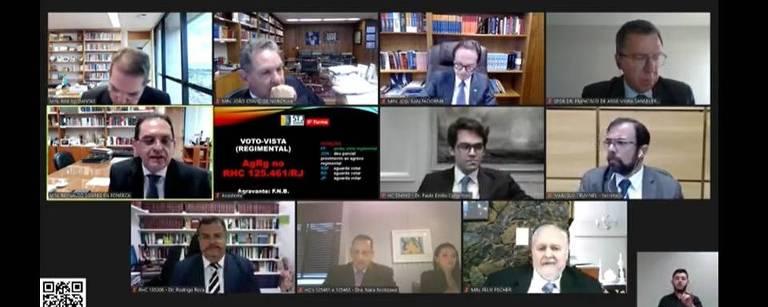Sessão em que a Quinta Turma do STJ anulou quebra de sigilo de Flávio Bolsonaro; na última fileira, ao centro, o advogado Frederick Wassef