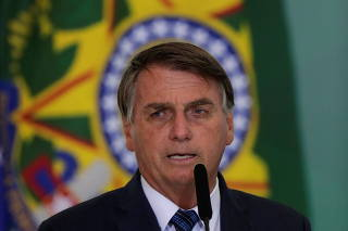 Brazil's President Jair Bolsonaro speaks during a ceremony to launch a program to help new mayors, at Planalto Palace in Brasilia