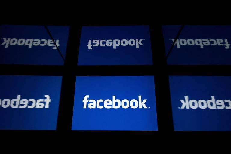 Logo do Facebook com letras brancas sobre fundo azul