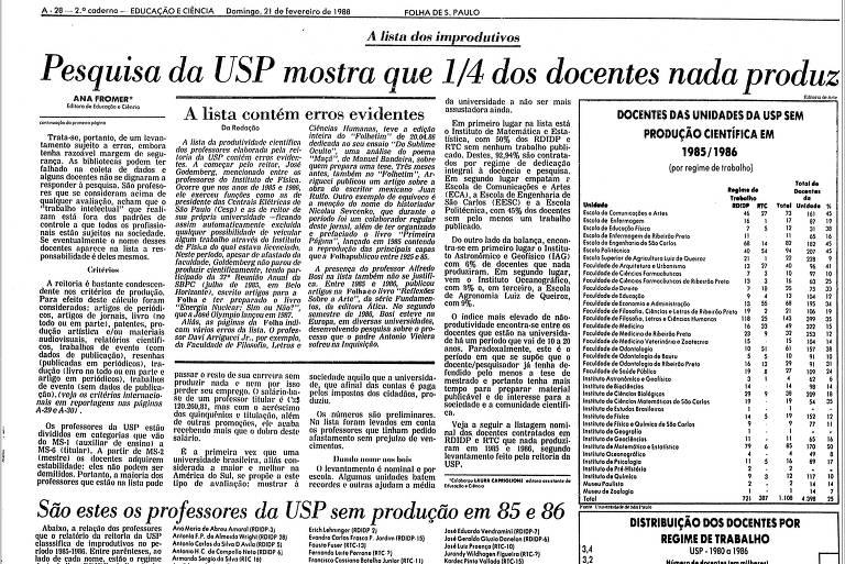 """Reprodução de página do jornal; """"A lista dos improdutivos"""", reportagem publicada em 1988 que mostrou pesquisa interna da Universidade de São Paulo sobre improdutividade de parte de seus professores"""