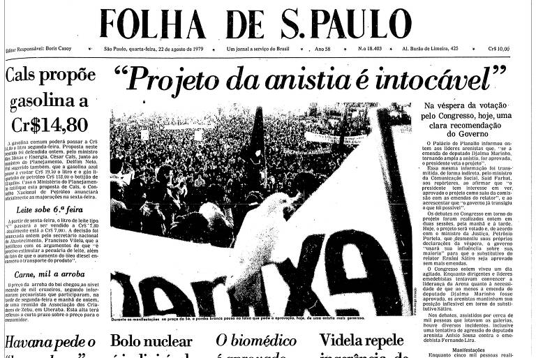 Primeira página da Folha de 22 de agosto de 1979; na foto principal, vencedora de Prêmio Esso, uma pomba pousa sobre faixa durante ato com 5.000 pessoas em defesa da anistia a exilados e presos políticos, na praça da Sé, em São Paulo