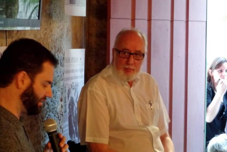 Clóvis Rossi (direita) e Sérvio Dávila em evento na Casa Folha, durante a Festa Literária Internacional de Paraty, 2014