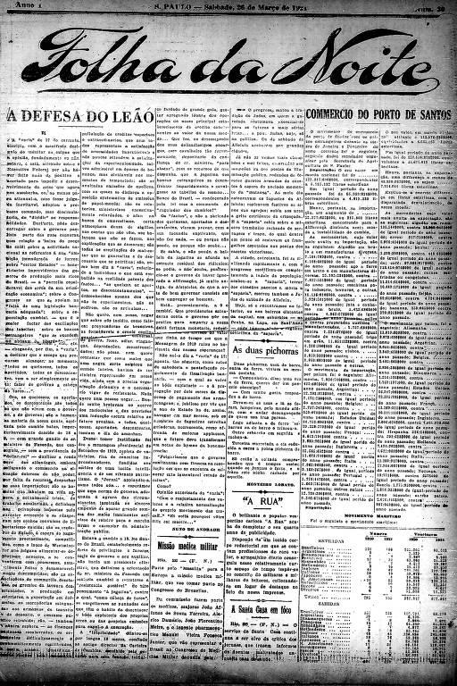 Primeira Página da Folha da Noite de 26 de março de 1921