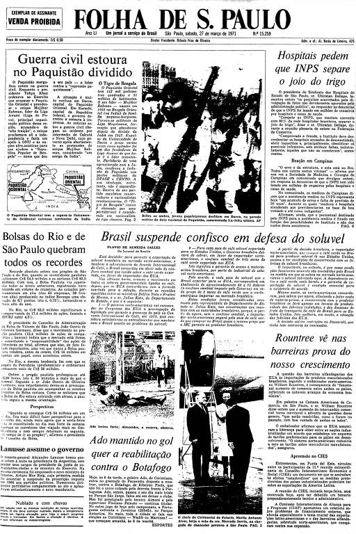 Primeira Página da Folha de 27 de março de 1971
