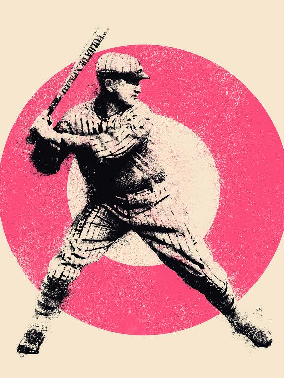 Ilustração mostra jogador de beisebol em preto e branco em frente a um círculo rosa