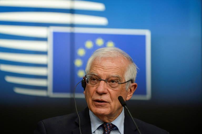 O chefe da diplomacia da União Europeia, Josep Borrell, durante entrevista coletiva em Bruxelas