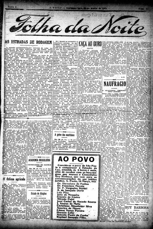 Primeira Página da Folha da Noite de 28 de março de 1921