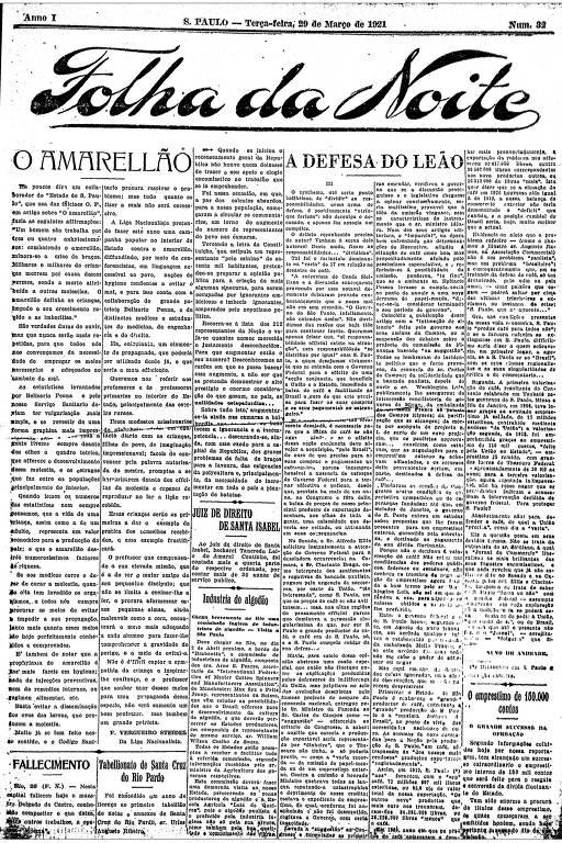 Primeira Página da Folha da Noite de 29 de março de 1921