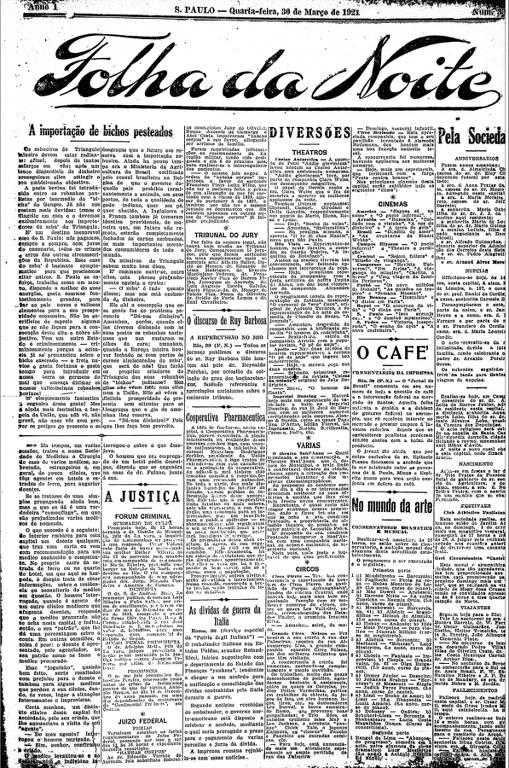 Primeira Página da Folha da Noite de 30 de março de 1921