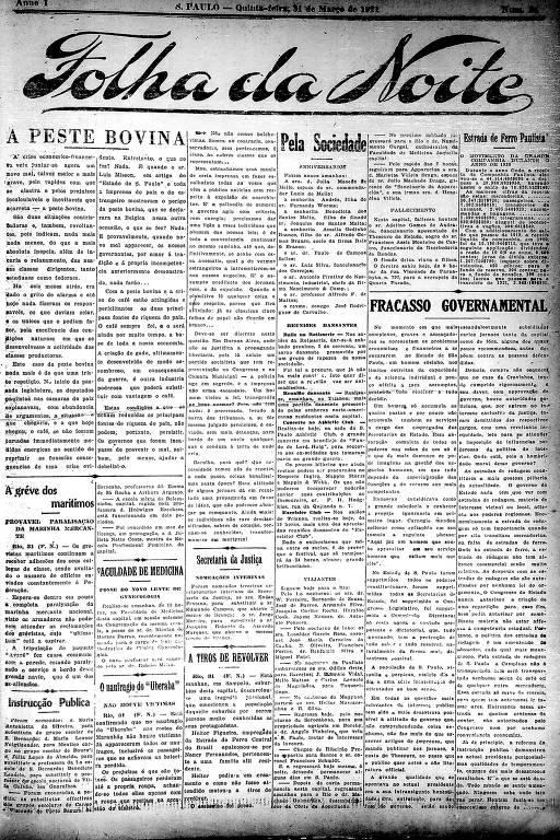 Primeira Página da Folha da Noite de 31 de março de 1921