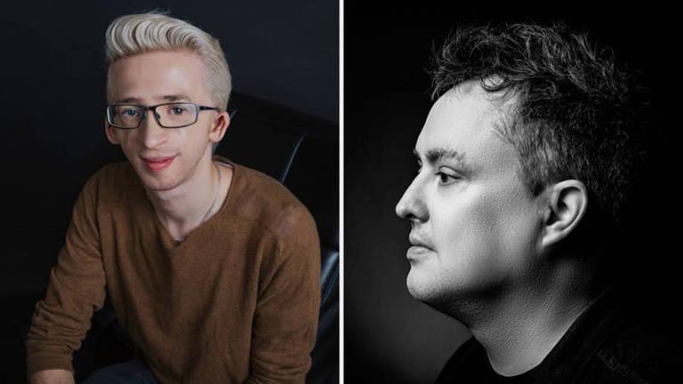 Jérémy Gabriel (esq.) e Mike Ward (dir.): o jovem, que é portador de deficiência, diz que piada grosseira do humorista o levou a pensar em suicídio