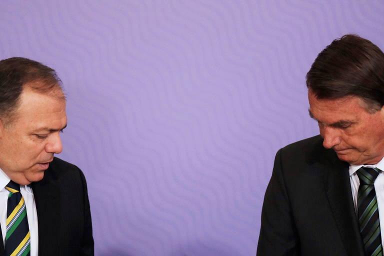 Pazuello e Bolsonaro durante evento sobre vacinação no Palácio do Planalto