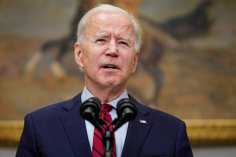 O presidente americano Joe Biden faz pronunciamento da Casa Branca, em Washington