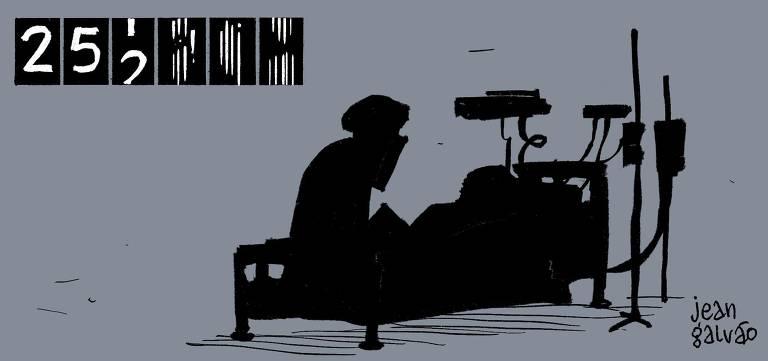 Charge mostra uma pessoa na penumbra observando um leito cercado por aparelhos de suporte à vida. No alto, um marcador aponta 252 e três espaços com números a serem preenchidos