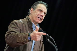 New York Governor Andrew Cuomo visits mass vaccination site in the Queens borough of New York
