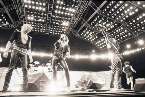 RIO DE JANEIRO, RJ, BRASIL, 15-01-1985: Música: integrantes da banda Scorpions, durante show do Festival Rock in Rio, no Rio de Janeiro (RJ). (Foto: Renata Falsoni/Folhapress)