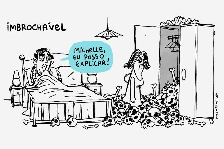 """Sob o ´titulo """"imbrochável"""", charge mostra caricatura do presidente Jair Bolsonaro deitado na cama. Ele diz: """"Michelle, eu posso explicar"""". Na ponta direita da ilustração, caricatura de Michelle Bolsonaro está abrindo a porta de um guarda-roupas e várias caveiras se espalham pelo chão."""
