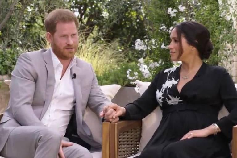 Harry e Meghan Markle são entrevistados por Oprah