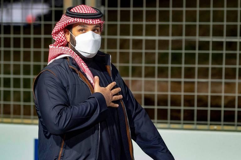O príncipe saudita, Mohammed bin Salman, participa de evento em Riad
