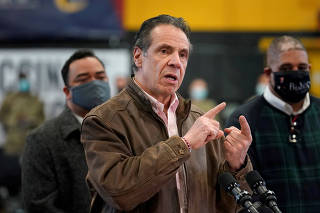 FILE PHOTO: New York Governor Andrew Cuomo visits vaccination site in Brooklyn