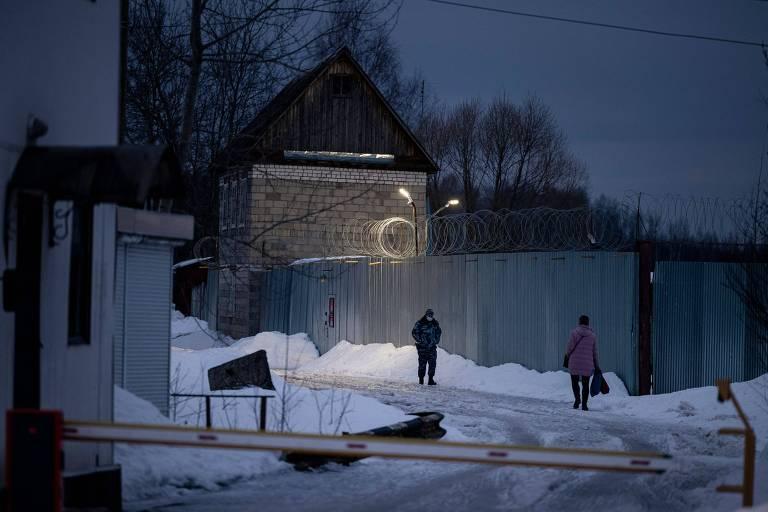 Entrada da colônia penal N2, em Pokrov (100 km a leste de Moscou), onde Alexei Navalni está detido