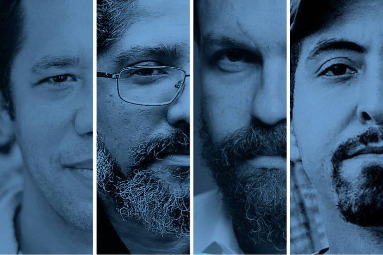 Montagem com os escritores Itamar Vieira Junior, Jeferson Tenório, Paulo Scott e José Falero