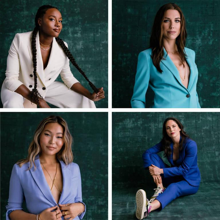 Simone Manuel, Alex Morgan, Sue Bird e Chloe Kim, fundadoras do TOGETHXR em fotomontagem